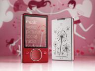 Красный Zune с романтическими узорами ко Дню святого Валентина