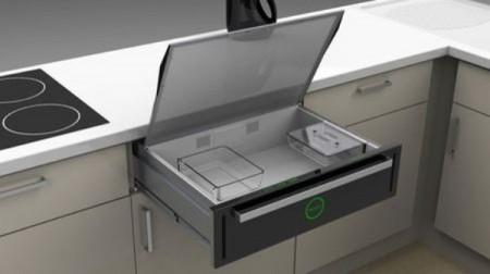 Микроволновую печь поместили в кухонный стол
